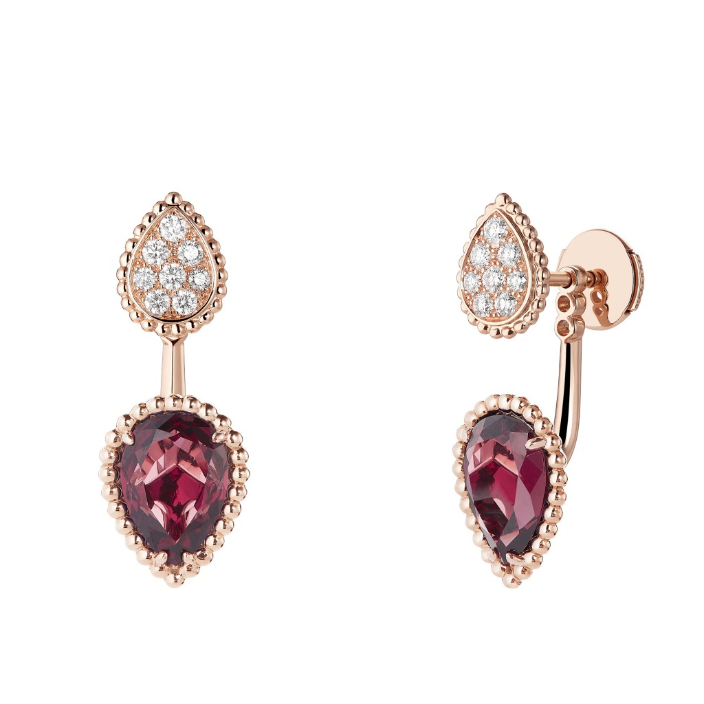 Boucheron - XS _ S motifs Serpent Bohème single stud earring set with rhodolite, paved with diamonds on pink gold
