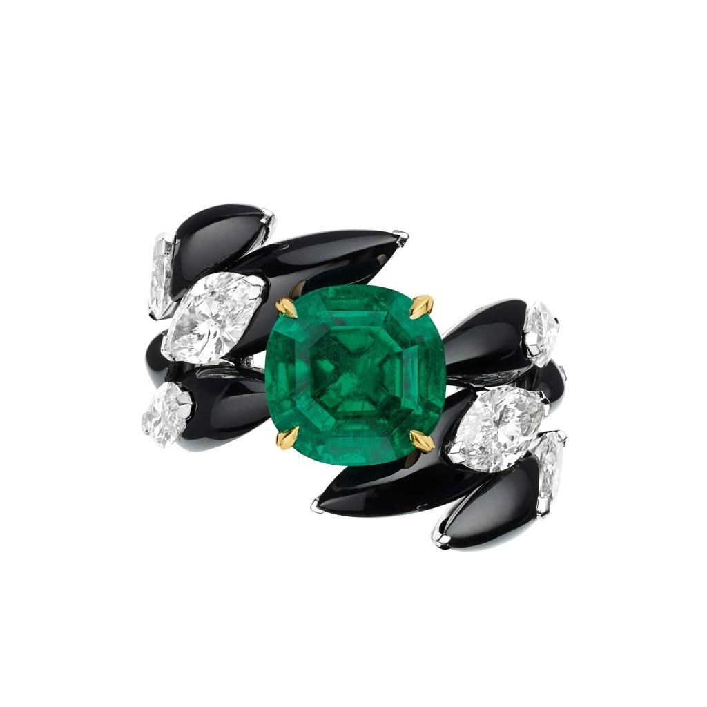 CHAUMET cascades Royales 18K白金和18K黃金祖母綠戒指
