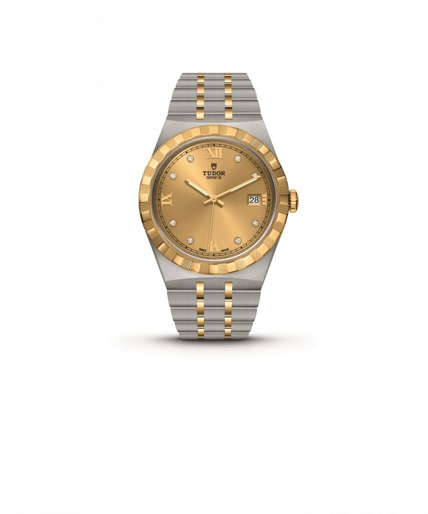 TUDOR ROYAL 38mm (黃金鋼錶帶 香檳色錶面 鑲鑽) NT$125,000 (1)